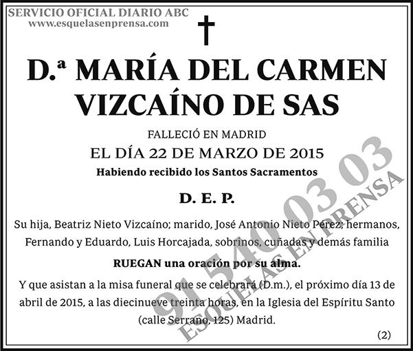 María del Carmen Vizcaíno de Sas